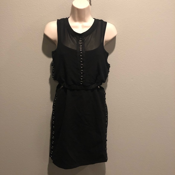 LF Dresses & Skirts - LF Black Bodycon Mesh Dress With Grommets